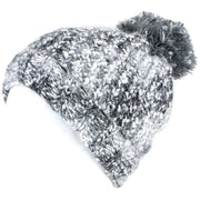 Mixed Yarn Chunky Slouch Beanie Bobble Hat with Super Soft Fleece Lining - Grey