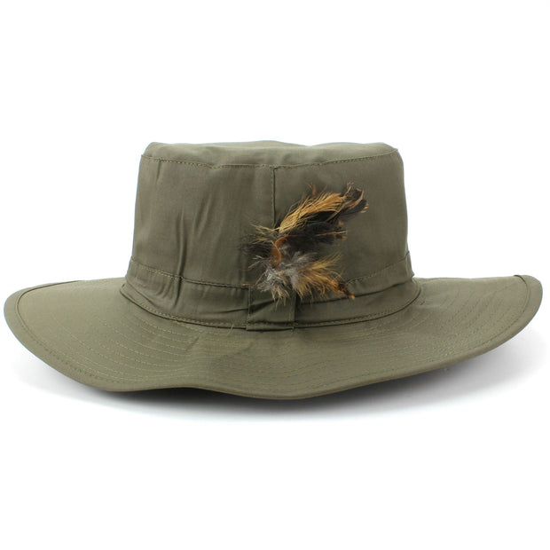 Wide Brim Outback Style Cotton Bush Hat with Feather - Green