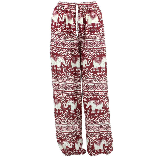 Loose Ali Baba Harem Elephant Trousers Pants - Red & White