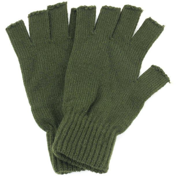 Fingerless Mens Gloves - Olive