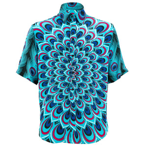 Regular Fit Short Sleeve Shirt - Peacock Mandala - Blue
