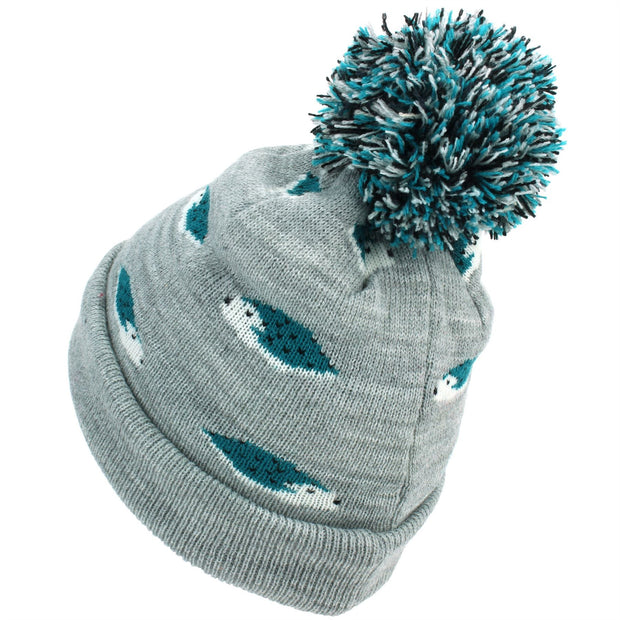 Kids Animal Bobble Beanie Hat - Grey