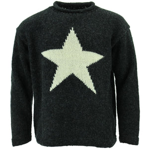 Chunky Wool Knit Star Jumper - Charcoal & Light Grey