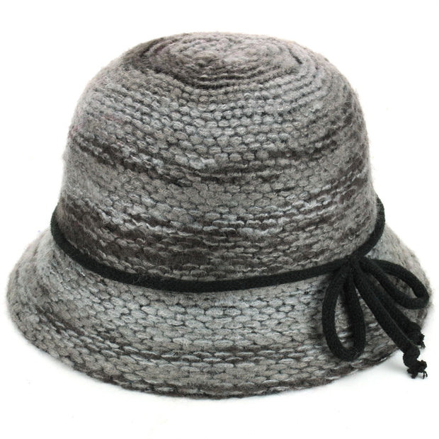 Knitted Cloche Hat - Grey