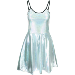 Shiny Strappy Dress - Silver