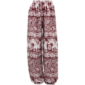 Loose Ali Baba Harem Elephant Trousers Pants - Maroon
