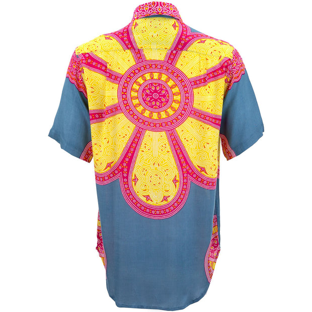 Regular Fit Short Sleeve Shirt - Flower Mandala - Blue