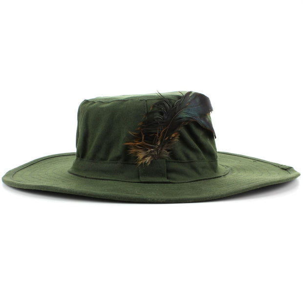 Wide Brim Outback Style Wax Cotton Bush Hat with Feather - Green
