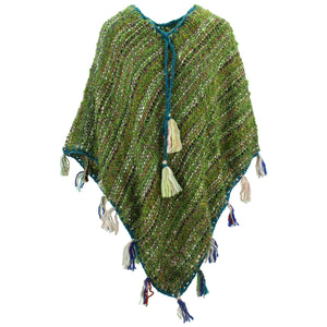 Stripe Crochet Poncho Long - Olive Green