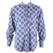 Regular Fit Long Sleeve Shirt - Blue With Pink Motif
