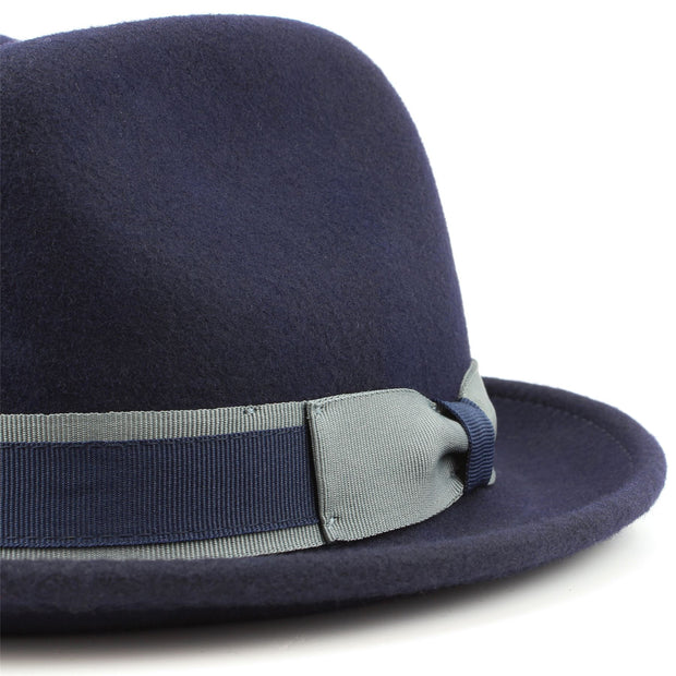 100% Wool trilby hat with contrast band and side bow - Navy