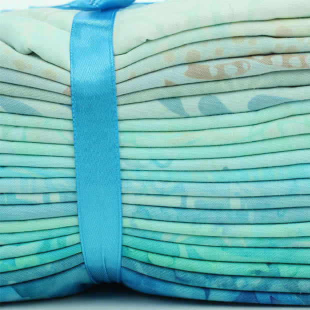 Cotton Batik Pre Cut Fabric Bundles - Fat Quarter - Light Blues