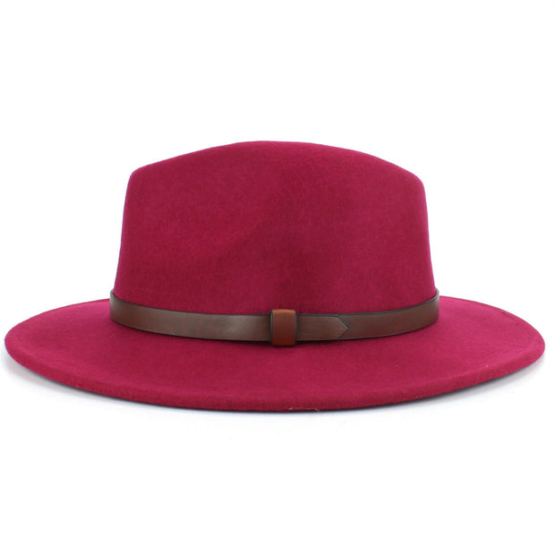 Wool Felt Fedora with Leather Band - Pink