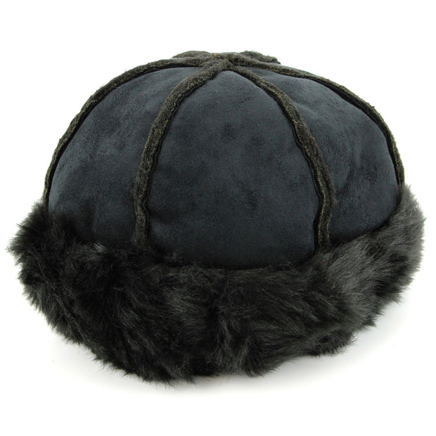 Suede Effect Hat and Faux Fur Cuff and Lining - Black