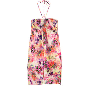 Halterneck Wrinkle Dress - Psychedelic Flower