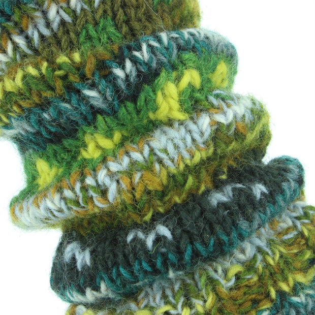 Chunky Wool Knit Abstract Pattern Leg Warmers - Green