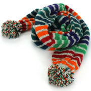 Chunky Wool Knit Scarf - Stripe Green