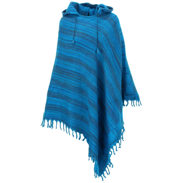 Vegan Wool Hooded Poncho - Light Blue