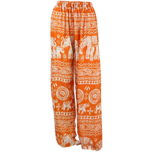 Loose Ali Baba Harem Elephant Trousers Pants - Orange