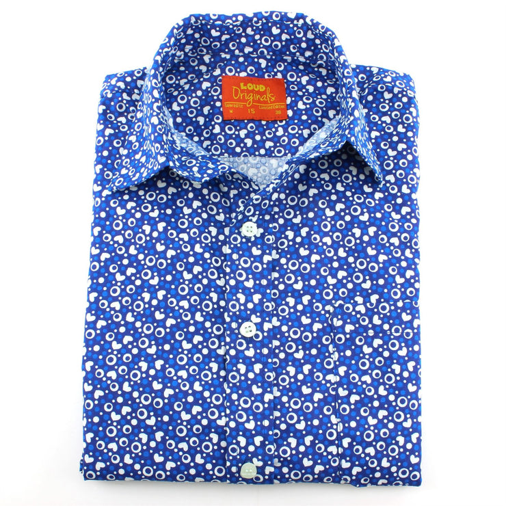 Tailored Fit Short Sleeve Shirt - Blue Hearts & Dots