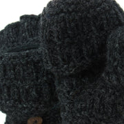 Chunky Wool Fingerless Shooter Gloves - Mixed Knits - Charcoal Grey
