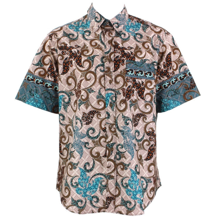 Regular Fit Short Sleeve Shirt - Pink Brown & Turquoise Abstract