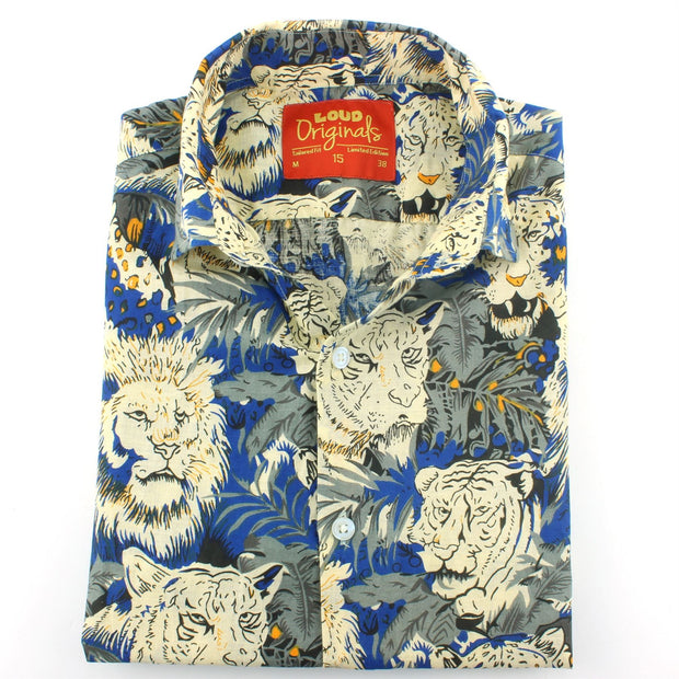 Tailored Fit Long Sleeve Shirt - Lion Tiger Jungle