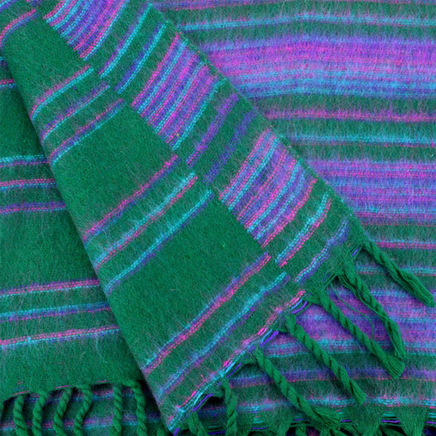 Vegan Wool Shawl Blanket - Stripe - Racing Green Purple