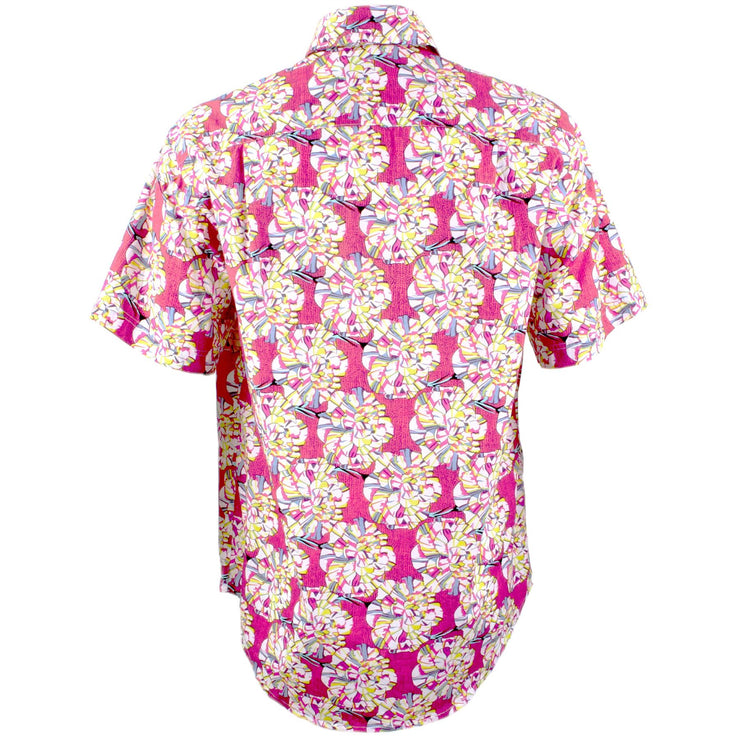 Regular Fit Short Sleeve Shirt - Pink Floral Geometric