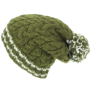 Chunky Wool Cable Knit Big Baggy Slouch Beanie Bobble Hat with Striped Brim - Green