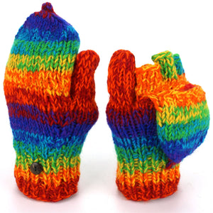 Wool Knit Shooter Gloves - Stripe Rainbow SD