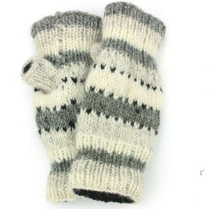 Wool Knit Arm Warmer - Stripe - Grey White
