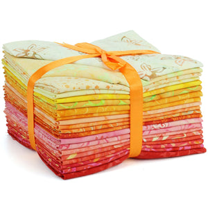 Cotton Batik Pre Cut Fabric Bundles - Fat Quarter - Red to Yellow