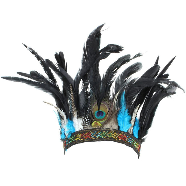 Feather Headdress Headband with Blue Feathers
