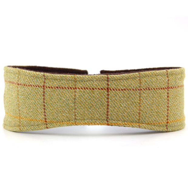 Tweed headband with elasticated back - Light green