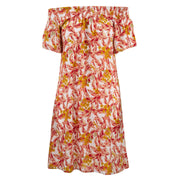 Shirred Comfy Dress - Salmon Leaves