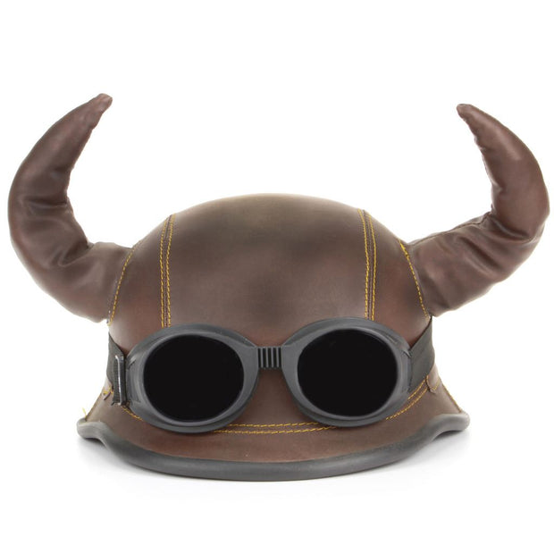 Viking Horned Novelty Festival Helmet with Goggles - Brown
