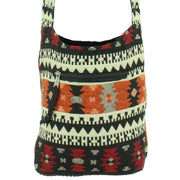 Cotton Canvas Sling Shoulder Bag - Aztec Orange Red