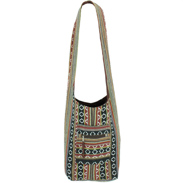 Diamond Pattern Canvas Sling Shoulder Bag - Black Brown