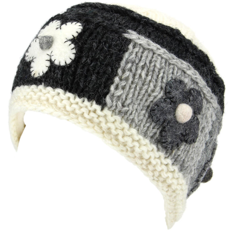 Ladies Wool Knit Beanie Hat with Flower Patch Design - Off White