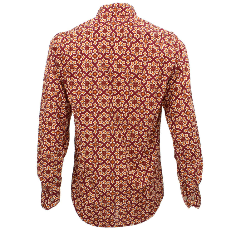 Tailored Fit Long Sleeve Shirt - Abstract Red & Orange
