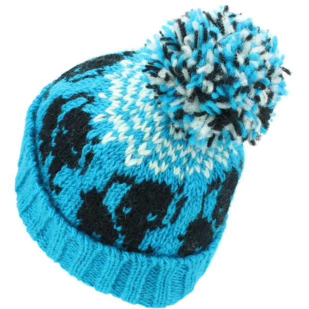 Wool Knit Bobble Beanie Hat - Elephant - Blue White
