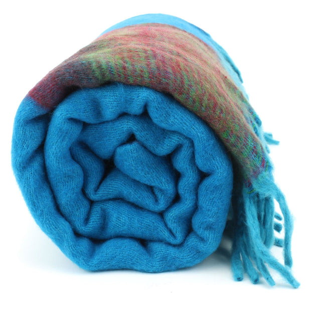 Tibetan Wool Blend Shawl Blanket - Blue with Green & Red Reverse