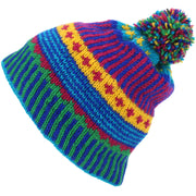 Wool Knit Bobble Beanie Hat - Carnival