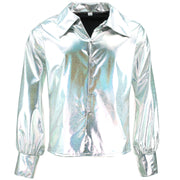 Shiny Metallic 70's Shirt - Silver