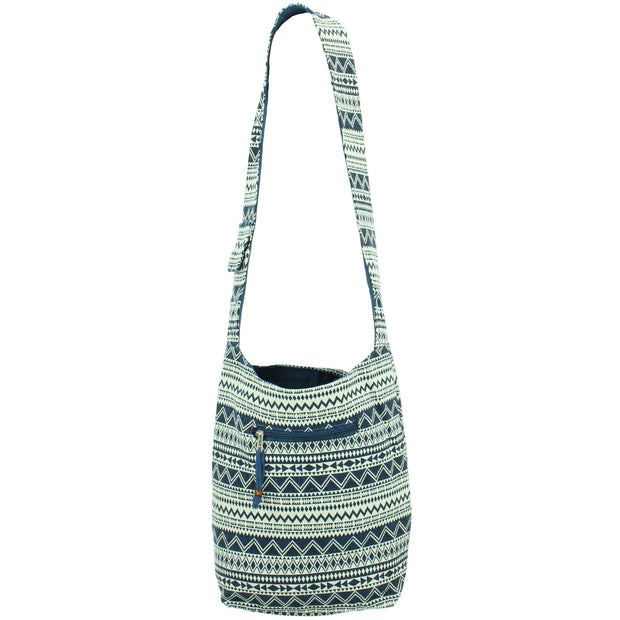 Cotton Canvas Sling Shoulder Bag - Navy