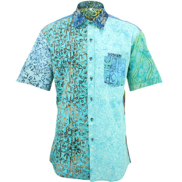 Regular Fit Short Sleeve Shirt - Random Mixed Batik - Bright Blue