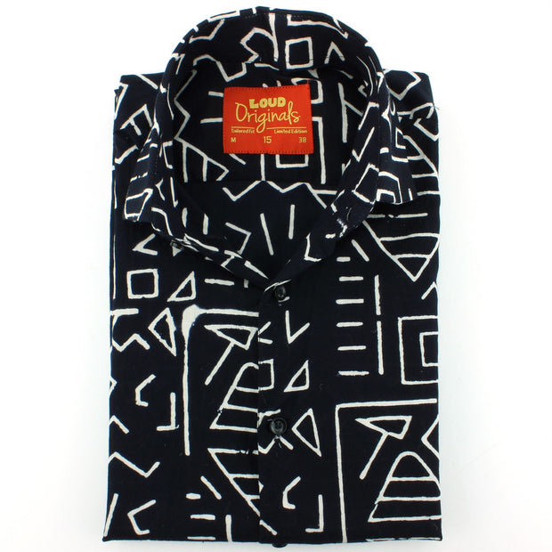Tailored Fit Short Sleeve Shirt - Block Print - Geometric