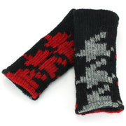 Wool Knit Arm Warmer - Red Houndstooth