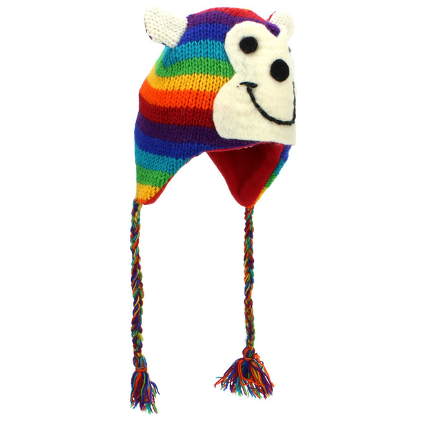 Wool Animal Hat - Rainbow Monkey